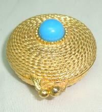 80s Estee Lauder Turquoise Perfume Gold Pillbox Compact